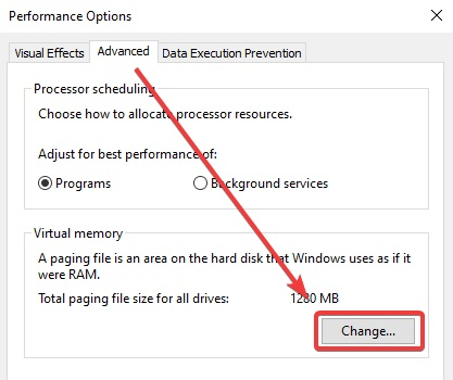 click on change in performance