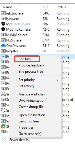 click on end task