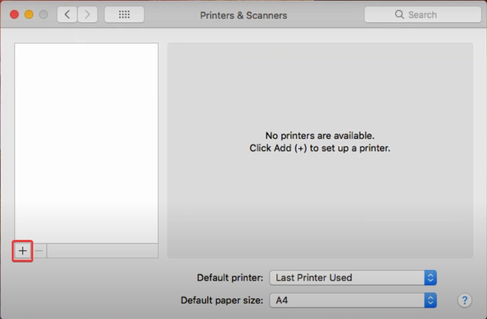 click on plus button to Fix an HP printer not found during driver setup