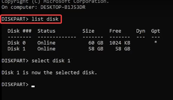 diskpart to fix Hard Drive is not showing Up