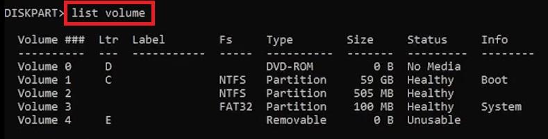 list volume in cmd