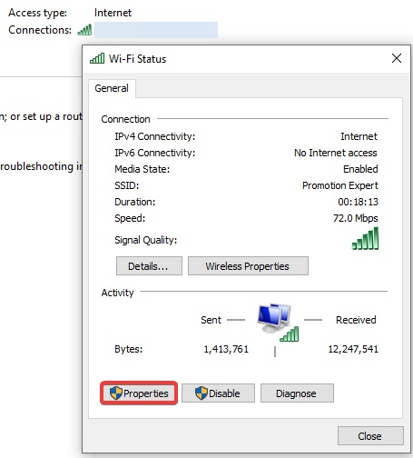 network connection properties to fix Windows 10 Won't Update