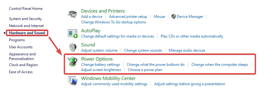 power options in control panel to fix Airplane Mode Error