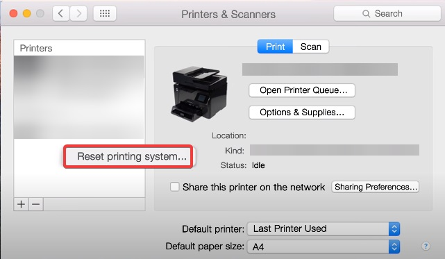 reset printer on mac to fix Brother Printer Not Connecting to Wi-Fi