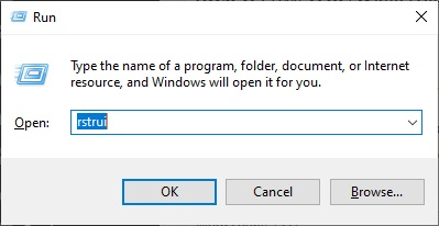 rstrui to Fix unclickable Taskbar in Windows 10