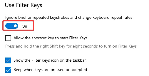use Filter keys to Fix keyboard not detected