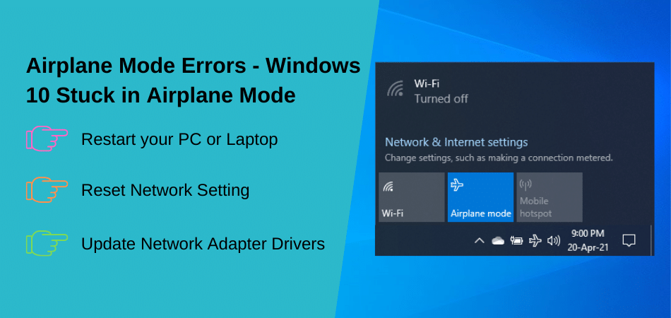 Airplane Mode Errors - Windows 10 Stuck in Airplane Mode