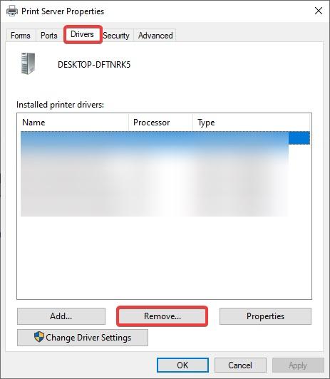 Click the Remove buttonunplug to fix Canon Printer B200 Error message