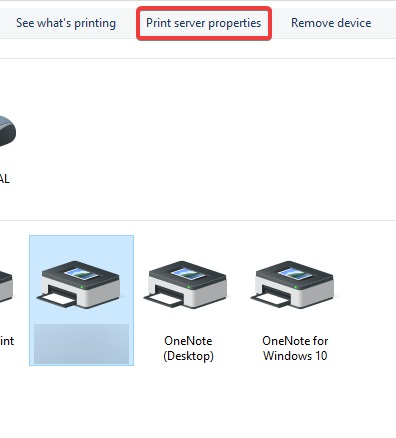 Printer server Properties