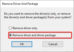 Remove Driver and Driver package