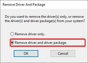 Remove Driver and Driver package to fix Canon Printer B200 Error message
