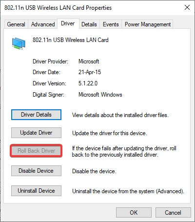 Roll Back Driver to fix Network Adapter Missing
