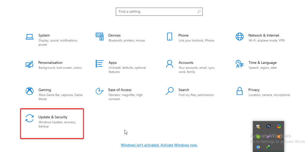 Update & security to Delete Backup Files in Windows 10