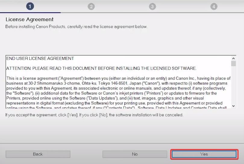 agree installtion license to Install Canon MP110 Printer Driver