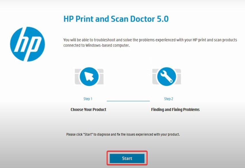click Start in HP Scan doctor