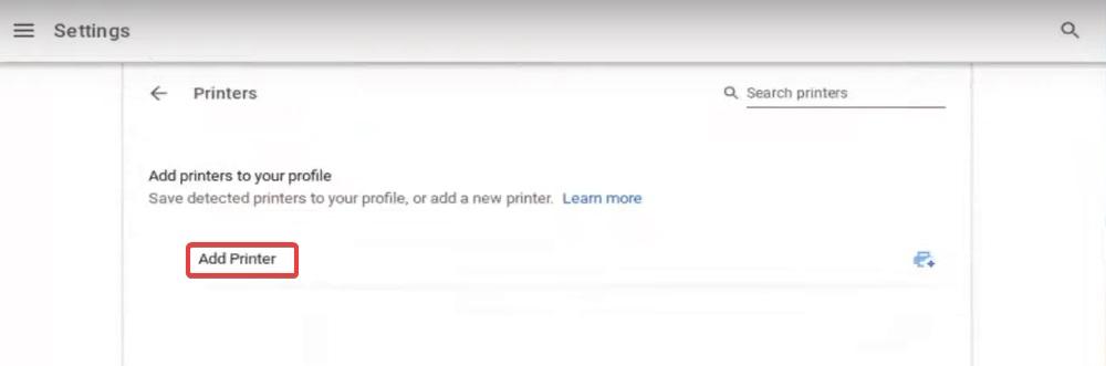 click on add printer to fix HP Printer Setup Chromebook