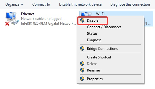 disable wireless connection to Fix Wi-Fi Not Working on Laptop