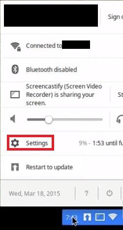 open the settings to fix HP Printer Setup Chromebook
