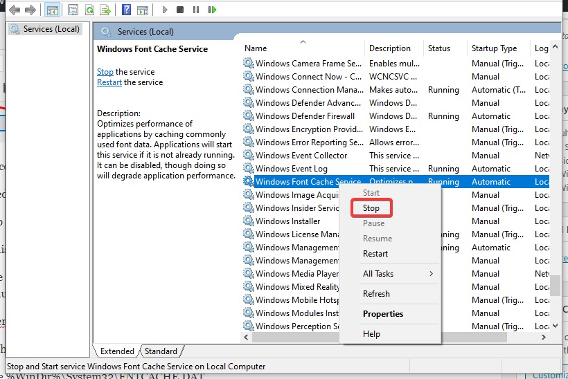 stop Windows Font Cache service to fix Printer not Printing PDF
