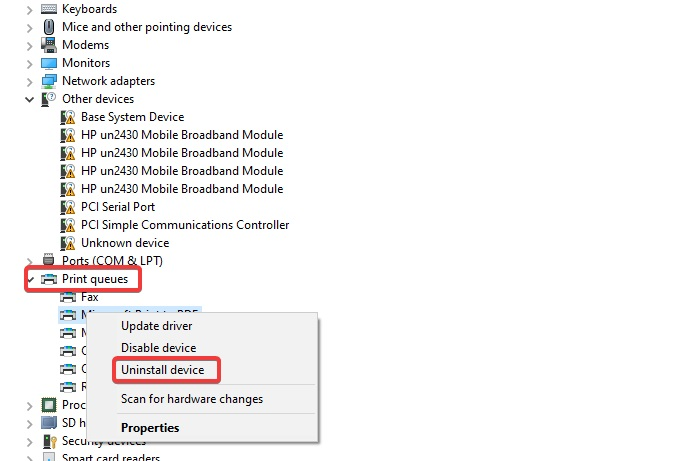 uninstall printer in device management