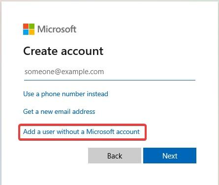 Add a user without a Microsoft Account to fix Windows 10 Login Problem