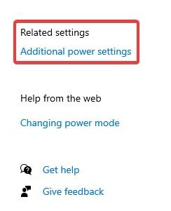 Additional power settings