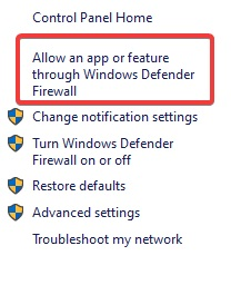 Allow an app or feature through Windows Defender Firewall to fix Chrome Not Responding