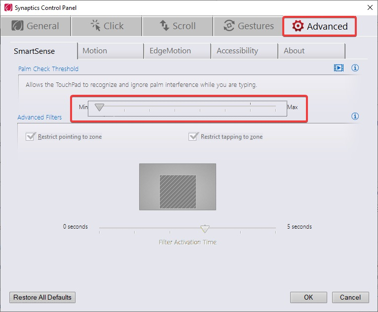 Click on advance and set thershod to min to fix Touchpad Not Working