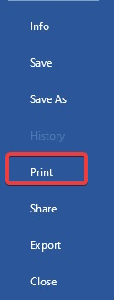 Click on print option to fix Printer Prints Only Black and White