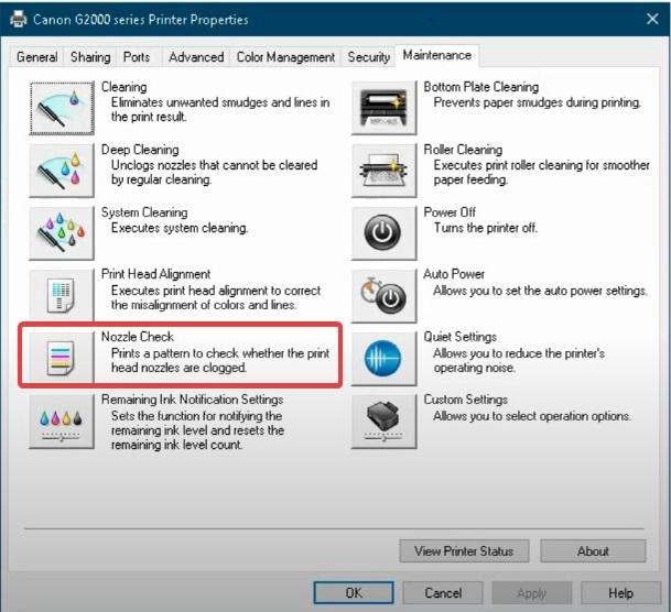 Nozzle-check to fix Canon Printer B200 Error message
