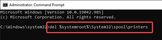 System32spoolprinters in cmd to fix Printer Error 482