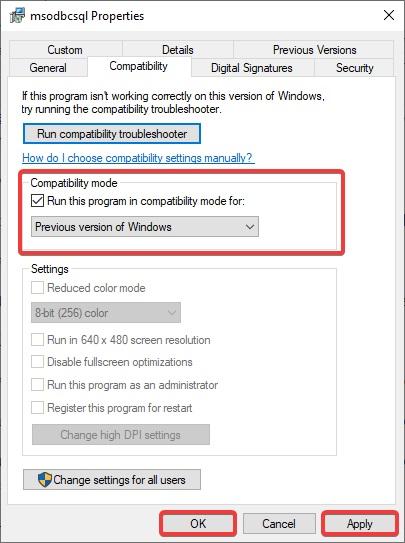 "check ""Run this program in Compatibility mode"