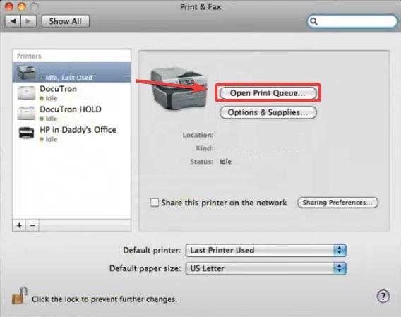 click on Open Print Queue