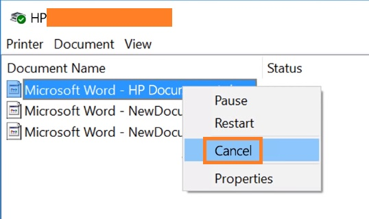 click on document and select cancel to fix Hp Printer Prints Unexpected Test