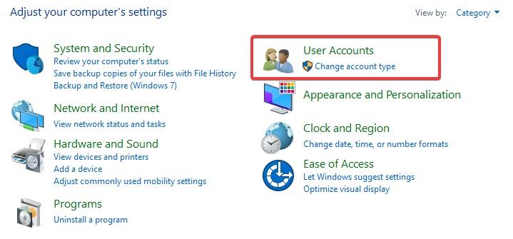 click on user accounts to fix Print Spooler Error
