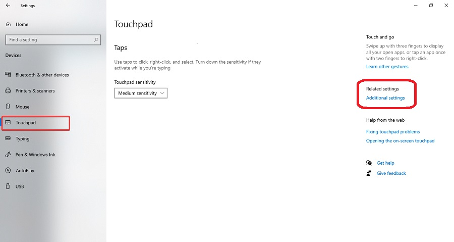 click touchpad and then additional settings
