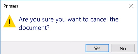 click yes to cancel printing