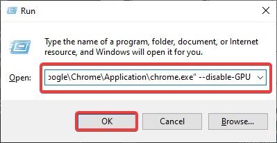disable-GPU to fix Google Chrome Black Screen Issue