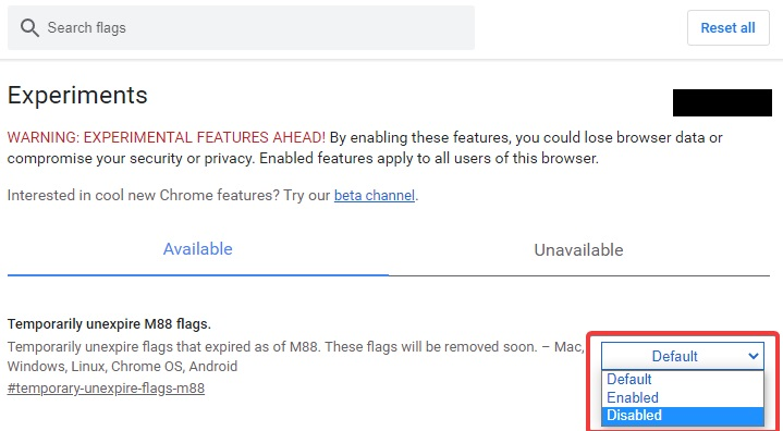 disable flags to fix Google Chrome Black Screen Issue