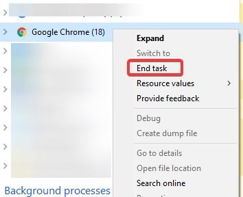 end task chrome