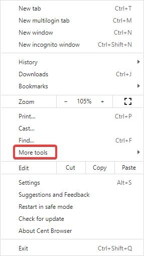 more tools in chrome settings