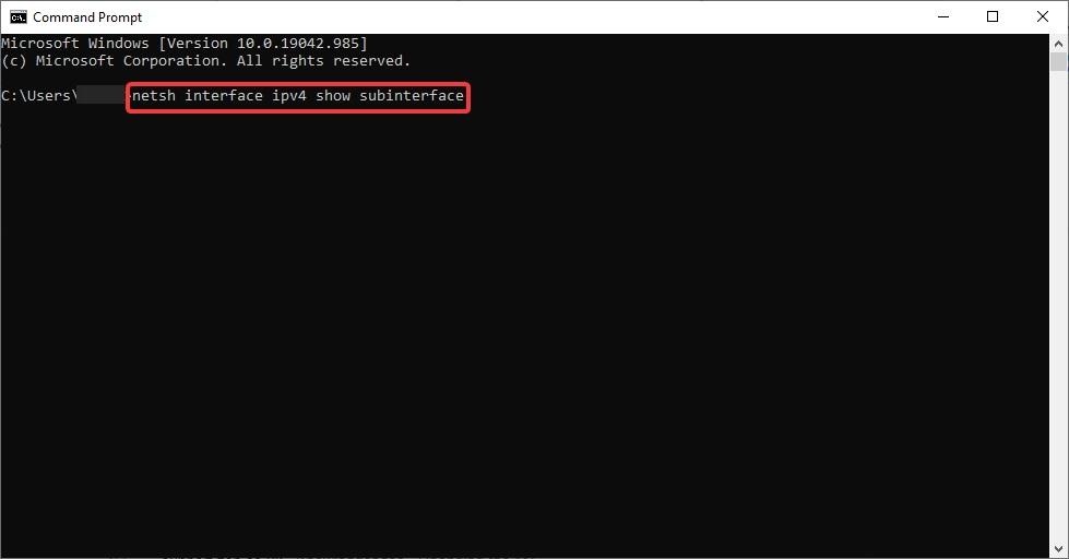 netsh interface ipv4 show subinterface to fix Wi-Fi Range Issue