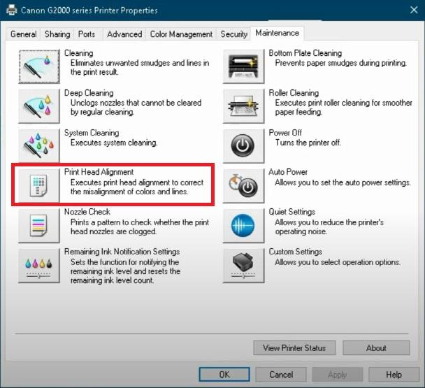 print allignment to fix Canon Printer B200 Error message