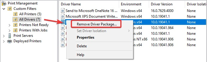 remove driver package in print management to fix Print Spooler Error