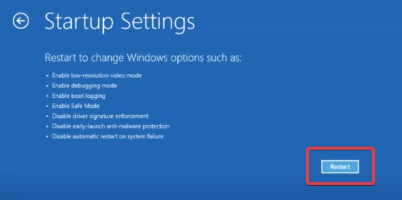 restart in safe mode to fix Windows 10 Login Problem