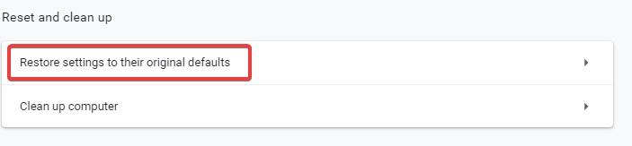 restore settings to their original default