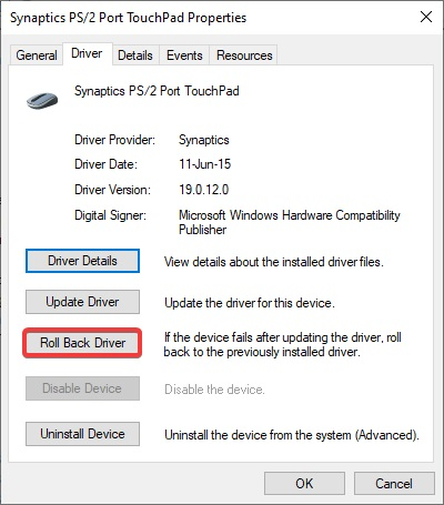 roll back driver to fix Touchpad Not Working