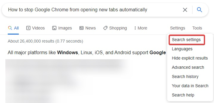 search settings to fix Chrome Keeps Opening New Tabs