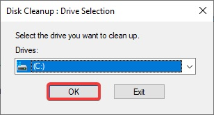 select the drive that you want to clean up to fix Printer Configuration Error