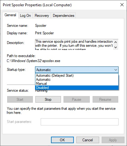 set print spooler to disabled